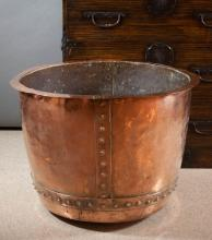 LARGE HAND WROUGHT COPPER PLANTER, round with ever