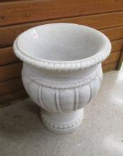 ROUND MARBLE PLANTER, footed campana form with gad