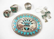 SIX PIECES SOUTHWEST NATIVE AMERICAN JEWELRY, (3)s