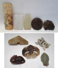 NINE PIECES OF HARDSTONE AND BONE PENDANTS AND CUR