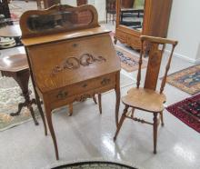 LATE VICTORIAN OAK SLANT-FRONT WRITING DESK WITH C