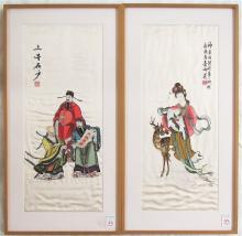 TWO CHINESE EMBROIDERIES ON SILK, one depicting a