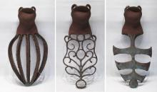 THREE IRON WALL SCULPTURES, welded iron formed of