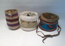 THREE PLATEAU NATIVE AMERICAN BAGS including a cor