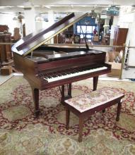 A MAHOGANY CASE PETITE GRAND PIANO WITH BENCH, The
