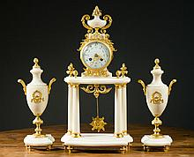 THREE-PIECE FRENCH CLOCK SET, Japy Freres & Cie.,