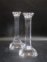 PAIR ORREFORS CRYSTAL CANDLESTICKS, square form