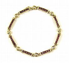RUBY, DIAMOND AND FOURTEEN KARAT GOLD BRACELET,