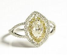 DIAMOND AND FOURTEEN KARAT GOLD RING, white and