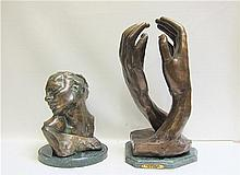 TWO BRONZE SCULPTURES AFTER AUGUSTE RODIN (French,