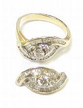 TWO PIECE DIAMOND JEWELRY SET, including a diamond