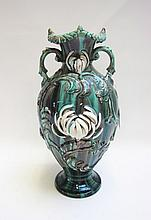 FRENCH MAJOLICA VASE in the Chinese manner, raised