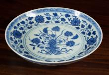 CHINESE BLUE AND WHITE PORCELAIN BOWL with low pro