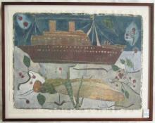 DEBORAH MERSKY INK AND GOUACHE OVER PRINT ON PAPER
