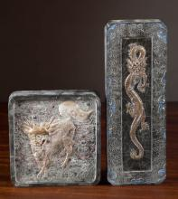 TWO CHINESE CASED INK CAKES:  one, oblong form wit