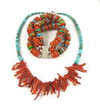 TWO PIECES OF CORAL AND TURQUOISE JEWELRY, the fir