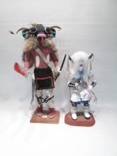 TWO NATIVE AMERICAN KACHINA FIGURES, the first
