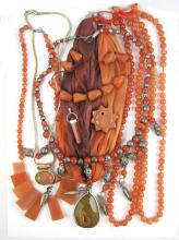 TEN PIECES BEADED JEWELRY including six necklaces,