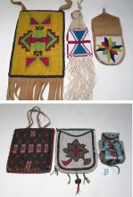 LOT OF SIX NATIVE AMERICAN BEADED ITEMS including