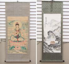 TWO CHINESE SCROLLS:  mountain landscape, signed i