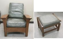 STICKLEY BOW-ARM MORRIS ARMCHAIR AND STOOL, Missio