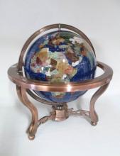 SEMI-PRECIOUS STONE GLOBE with copper style stand