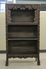 CARVED OPEN SHELF BOOKCASE, early 20th century, ha