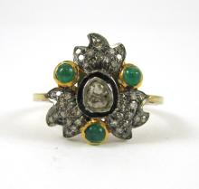 INDIA DIAMOND, EMERALD, SILVER AND GOLD RING.  The