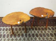 TWO MID-CENTURY NORTHWEST MADRONE WOOD LAMP TABLES