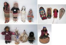 THIRTEEN ESKIMO AND INDIAN DOLLS made from leather