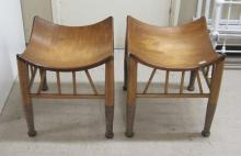 PAIR OF MODERN AFRICAN WOOD STOOLS, each having a