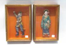 PAIR CHINESE POTTERY FIGURAL SCULPTURES mounted in
