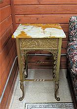 LATE VICTORIAN BRASS AND CAST IRON PEDESTAL TABLE,
