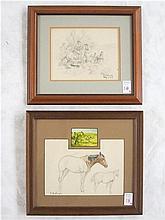 EDWARD B. QUIGLEY, TWO GRAPHITE SKETCHES (Oregon,