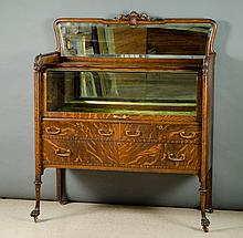 LATE VICTORIAN OAK AND CURVED GLASS CHINA BUFFET,