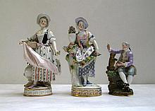 THREE MEISSEN HAND PAINTED FIGURES consisting of