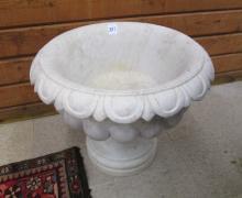 ROUND MARBLE PLANTER, round bowl form on pedestal