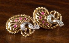 PAIR OF RUBY AND DIAMOND EARRINGS, each 18k yellow