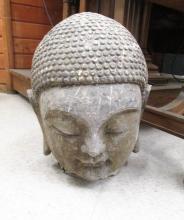 CHINESE CARVED GRANITE BUDDHA HEAD, 18.5