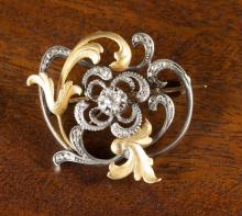 VINTAGE DIAMOND, SILVER AND GOLD PENDANT/BROOCH.