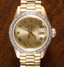 LADY'S ROLEX OYSTER PERPETUAL DIAMOND AND EIGHTEEN