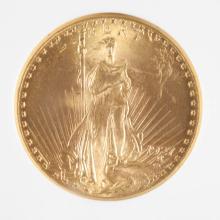 U.S. TWENTY DOLLAR GOLD COIN, St. Gaudens type, 19