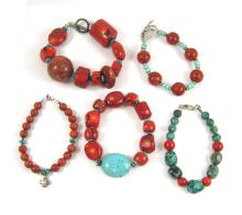 FIVE CORAL AND TURQUOISE BEADED BRACELETS, one is