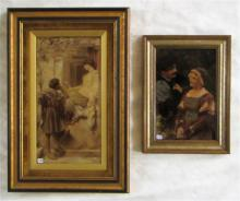 TWO VICTORIAN CRYSTOLEUM PRINTS ON GLASS, courting