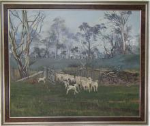 GRIFFITH OIL ON CANVAS, pastoral landscape with do