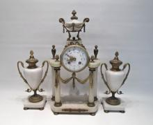 THREE-PIECE BRASS AND WHITE MARBLE PORTICO CLOCK S