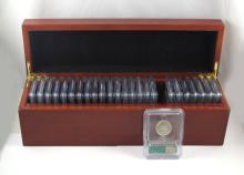 225 U.S. COMMEMORATIVE QUARTERS IN NINE WOOD BOXES