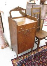 AN OAK MUSIC CABINET AND SIDE CHAIR, American, c.