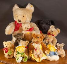 THIRTEEN STEIFF MOHAIR TEDDY BEARS, various sizes,