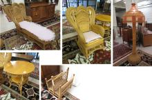 FIVE-PIECE VICTORIAN STYLE WICKER AND OAK FURNITUR